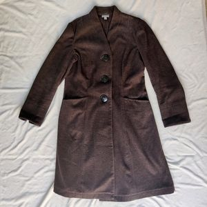 J. Jill Brown Cotton Single Breasted Peacoat